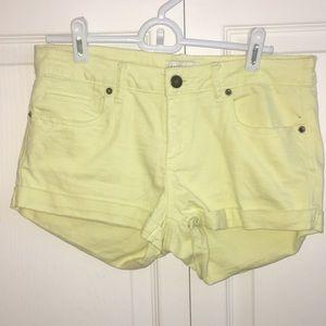 F21 Yellow Jean Shorts
